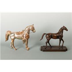 Two Metal Horse Sculptures