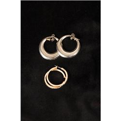 Two Pairs of Dress Hoop Earrings