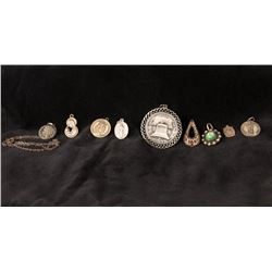 Assortment of 9 Pendants Including one Pendant Necklace
