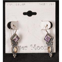 One Pair of Sterling Silver Moon Sterling Earrings