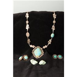 Silver-tone & Turquoise Necklace Together with3 Pairs of Turquoise Earring