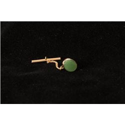 Jade and Gold-Tone Tie Tack