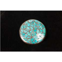 Round Silver & Inlaid Turquoise Pin/Pendant