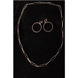 Pair of Silver Clip Hoop Earrings with Silver Chain-link Necklace