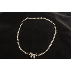 Silver -toned Crystal and Black Stone Stretch Necklace with Horse Pendant