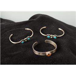Set of Three Sterling Infant Bracelets