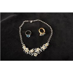 One Costume Jewelry Choker together with Two Rings