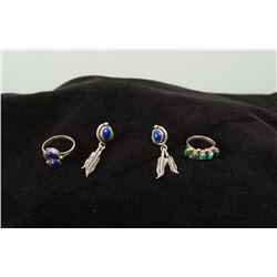 Matching Set of Lapis Ring and Earrings Together with Turquoise Pinky Ring