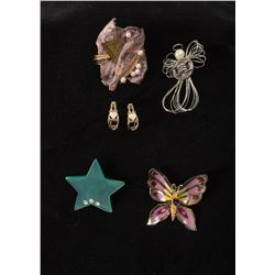Assortment of 4 Pins together with One Pair of Earrings