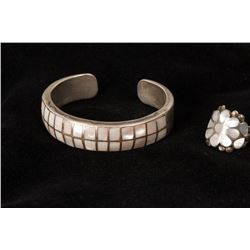 Matching Mother of Pearl Cuff Bracelet and Ring