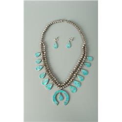 Double Strand Squash Blossom Necklace & Screw-Style Earrings