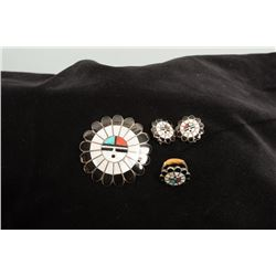 Zuni Sunface Set of Matching Pin/Pendant, Ring, and Clip-on Earrings