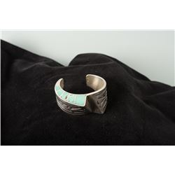 Sterling Silver and Inlaid Turquoise Cuff Bracelet