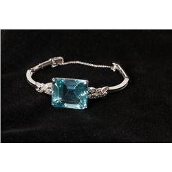 Blue Topaz & Diamond Bracelet