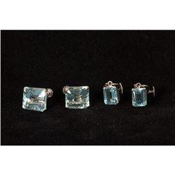 Two Pair of Blue Topaz Screw-on Earrings