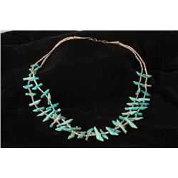 Turquoise Bird Fetish and Heishi Necklace
