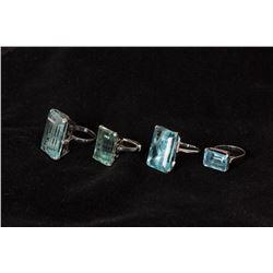 Set of Four Blue Topaz Rings