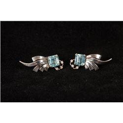 Pair of Blue Topaz and Diamond Clip Earrings