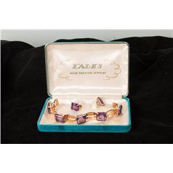 Amethyst Bracelet and Pair of Screw-on Earrings