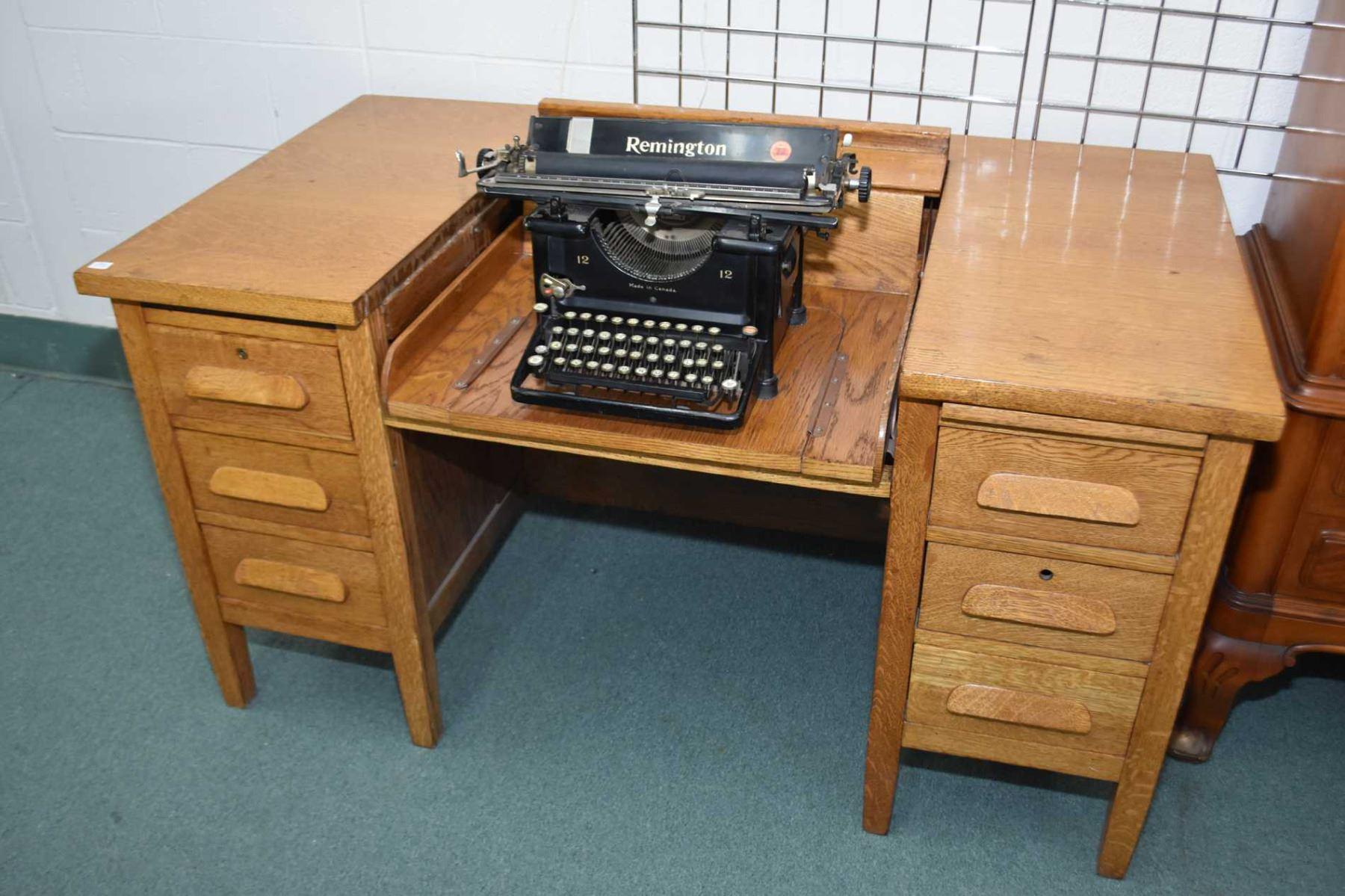 Tremendous Vintage Double Pedestal Quarter Cut Oak Secretaries Desk With Download Free Architecture Designs Embacsunscenecom