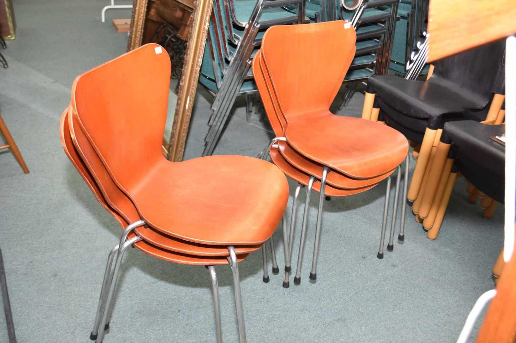 Set Of Six Stacking Mid Century Modern Chairs Made By Cape