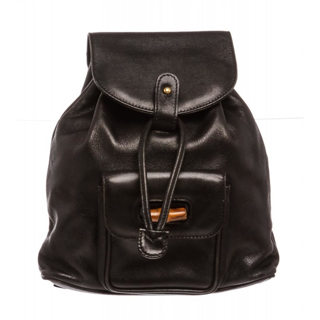 d884783ff1e Image 1   Gucci Black Leather Drawstring Bamboo Mini Backpack ...