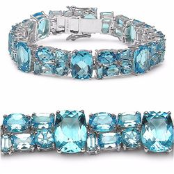 Sterling Silver Swiss Blue Topaz Bracelet