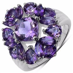 Sterling Silver Brazil Amethyst and African Amethyst Ring