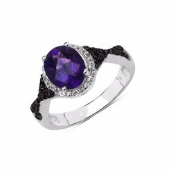 Sterling Silver African Amethyst and Black Diamond Ring