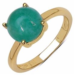 Sterling Silver Sakota Cabochon Emerald Solitaire Ring
