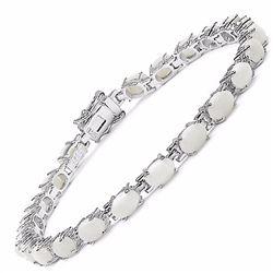 Sterling Silver Cabochon Opal Bracelet