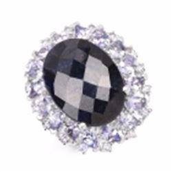 Sterling Silver Checker Board Sapphire and Tanzanite Ring
