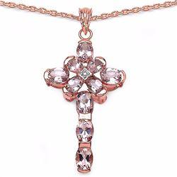 Sterling Silver Morganite and Diamond Pendant
