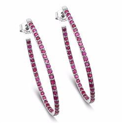 Sterling Silver Thai Ruby Earrings