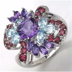 Sterling Silver Multi Color Stone Ring