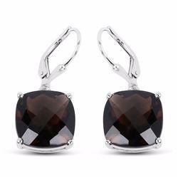 Sterling Silver Checkerboard Smoky Quartz Earrings