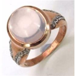 Sterling Silver Cabochon Rose Quartz Ring