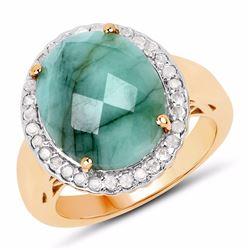 Sterling Silver Checkerboard Emerald Ring