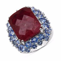 Sterling Silver Checkerboard Ruby and Tanzanite Ring