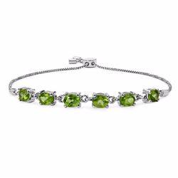 Sterling Silver Peridot Adjustable Bracelet