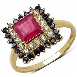 Sterling Silver Ruby and Black Spinel Ring