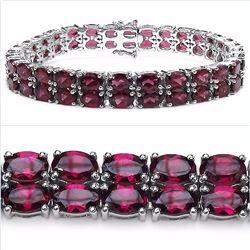 Sterling Silver Double Row Rhodolite Bracelet