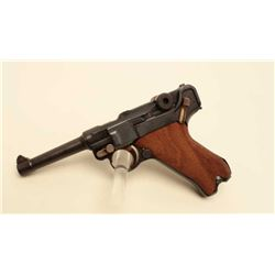 DWM Luger semi-auto pistol, 9mm caliber, Serial #1695F. The pistol