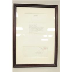 Framed letter addressed to Dr. Brian Herdeg signed Ronald Reagan