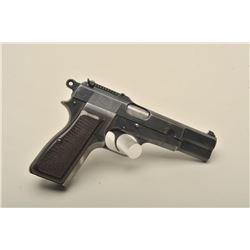 FN nazi-marked Hi Power semi-automatic pistol, 9mm caliber, 4.75 barrel,