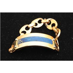 Bulgari Roma signed custom mens ID bracelet, 18K gold and
