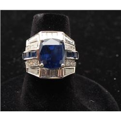 Ceylon Sapphire approx. 6.71 carats and Diamond Ring set in