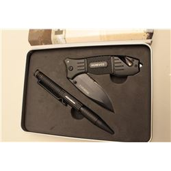 Humvee First Responder knife and pen set in tin; overall