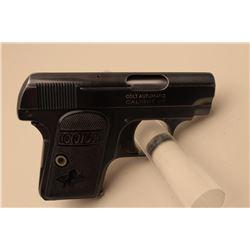 Colt Model 1908 semi-automatic pistol, .25 caliber, 2 barrel, blued