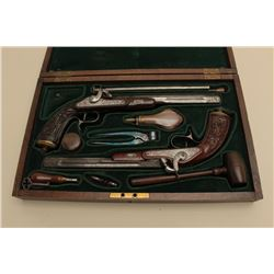 19th Century percussion target pistols by Joseph Kirner of Pest,